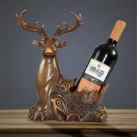 好家饰 客厅酒柜摆件装饰品 创意红酒架工艺品 招财大象家居摆设 鹿头葡萄酒架 红木色 高约33厘米