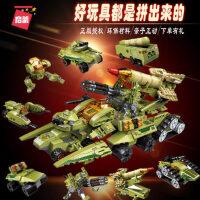 启蒙�犯呋�木拼装玩具坦克机器人6-8-10岁男孩益智力拼图儿童礼物