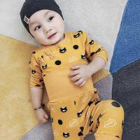 8个月男宝宝秋冬装套装纯棉0-1-3岁婴幼儿女童两件套保暖加厚潮12