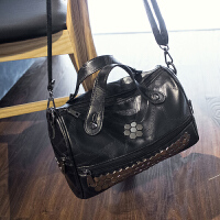 2018新款波士顿女包枕头包潮韩版大容量单肩手提斜挎软皮女包包潮 黑色收藏送手拿包运费险