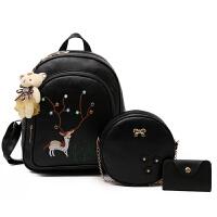 公主包包韩版儿童双肩包中大童旅游背包小学生书包新款女童大包 黑色双肩包 不送小熊挂件