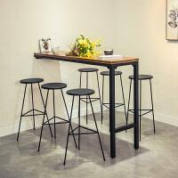 实木吧台桌椅家用靠墙简约现代咖啡厅酒吧高脚桌铁艺客厅 组装 支架结构