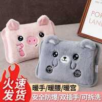 热水袋充电式防爆��宝宝毛绒可爱电暖手宝女暖水袋暖脚床上可拆洗