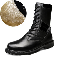 大码男靴棉靴男冬季时尚潮靴马丁靴男系带高帮战狼军训战术军靴加绒保暖