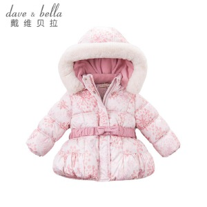 davebella戴维贝拉冬季棉服 女宝宝印花保暖棉服DB5636
