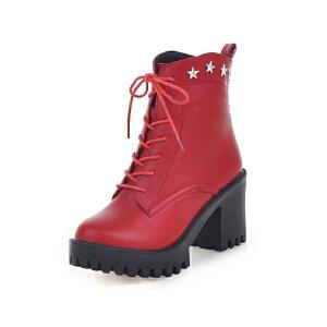 ELEISE美国艾蕾莎新品秋冬150-D-4韩版超纤皮粗跟高跟女士女靴短靴