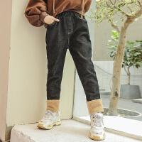 女童加绒牛仔裤冬装韩版洋气大儿童秋冬季12-15岁长裤子