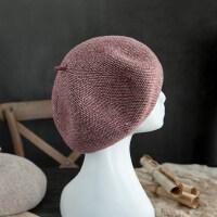 复古羊毛呢帽立体贝雷帽女加厚休闲格子混色画家帽松紧头围