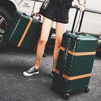 铝框拉杆箱女万向轮行李箱男潮韩版个性登机密码硬箱29旅行皮箱子 墨绿色 磨砂系列单斜纹