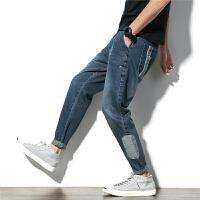 牛仔裤宽松男韩版学生港风bf学院风百搭帅气个性肥佬大码贴布裤子