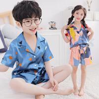 家居服夏季男女童睡衣套装中大童薄款空调服