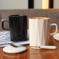 北欧创意马克杯咖啡杯杯子陶瓷带盖勺简约情侣办公室喝水杯大容量