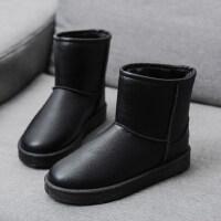 雪地靴女皮面防水短筒保暖加绒棉鞋女学生韩版平底