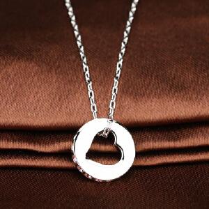 奥地利施华洛世奇 水晶玫瑰彩银色爱心环镶钻项链 1117673 水晶吊坠