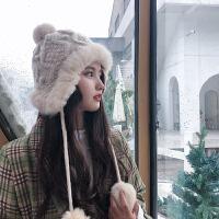 时尚韩版毛线帽子女秋冬季东北雷锋帽保暖护耳加绒兔毛球防风针织帽潮
