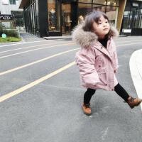冬季女宝小童真毛领休闲保暖中长款工装服羽绒服1-5岁童装