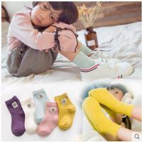秋冬季新款纯色儿童袜子12纯棉女宝宝1中筒袜男童3女童5学生袜7岁 5双混色装