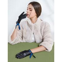 真皮手套女士户外保暖骑行摩托开车短薄款加绒加厚触屏羊皮防寒