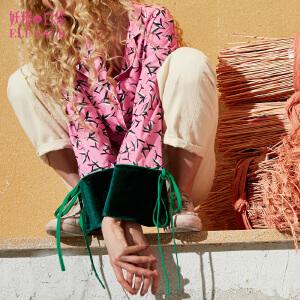 【6折价114元】妖精的口袋智慧魔灵秋装新款宽松印花翻领丝绒拼接衬衫女