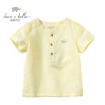 davebella戴维贝拉男女童夏季新款宝宝透气亚麻短袖衬衫28051