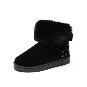 O'SHELL法国欧希尔新品冬季165-K-016韩版磨砂绒面平跟女士雪地靴