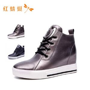 红蜻蜓女鞋正品2018秋季新款时尚舒适内增高单鞋