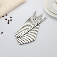 不锈钢筷子筷子家用家庭装防滑筷子套装尖头筷子中式方型(十五双装)