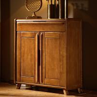 实木鞋柜两门三门现代简约中式门厅柜带抽屉开门收纳柜客厅储物柜 组装