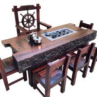 老船木简约办公大茶几龙骨功夫喝茶台客厅中式实木家具茶桌椅组合 组装