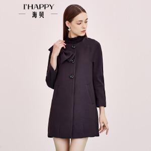 海贝女装秋季新款外套 圆领大蝴蝶结装饰纯色单排扣中长款风衣