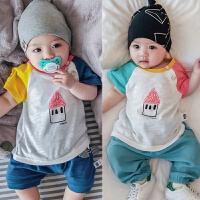 婴儿短袖上衣全棉T恤衫男女宝宝拼色套头印花打底衫0-1岁夏季衣服