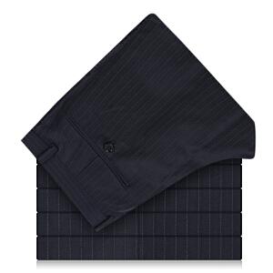 Youngor/雅戈尔商务正装藏青色底条纹抗皱羊毛商务西裤TK23264-*21
