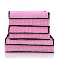 普润 文胸加高内裤内衣收纳盒有盖三件套多件整理储物收纳箱 粉色圆点