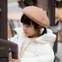 儿童帽子羊毛贝雷帽男童女童画家蓓蕾韩版潮小孩宝宝帽