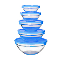 圆形玻璃冰箱保鲜碗带盖大小号收纳便携家用透明微波炉食品保鲜盒 C款五件套蓝色 微波保鲜两用