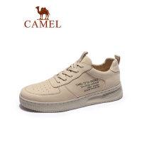 camel骆驼男鞋真皮运动板鞋 2019春季新款厚底休闲鞋潮流韩版透气鞋子