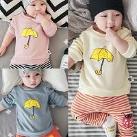 童装婴儿衣服秋装新生儿纯棉上衣幼儿外出长袖1-3岁2男女宝宝卫衣
