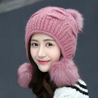 女士八字麻花球球帽子 韩版大毛球文艺针织帽女 休闲毛线帽子可爱甜美兔毛帽子女