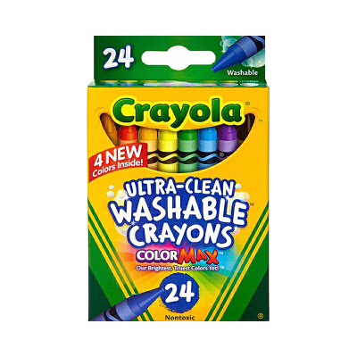 保税区发货 Crayola绘儿乐24色可水洗蜡笔绘画笔涂鸦笔无毒 3岁以上 海外购 24色可水洗蜡笔绘画笔无毒