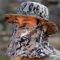 男士夏季遮阳帽钓鱼帽迷彩防晒带防风绳渔夫帽面罩遮脸叠骑车帽子 L(58-60cm)