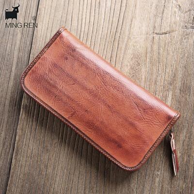 男士钱包男牌头层牛皮手包复古长款植鞣水洗牛皮拉链手工 红棕色