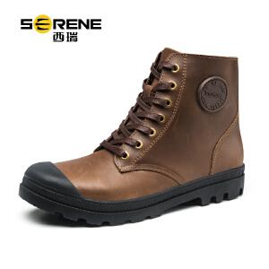 西瑞男士休闲工装鞋系带马丁靴真皮单靴皮靴子3270