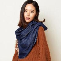 长款纯色披肩围巾两用多功能保暖围巾女羊毛围巾女