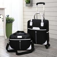 韩版手提拉杆包女旅行包大容量万向轮拉杆旅行袋短途行李包登机包 黑色 子母包套装 大