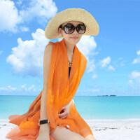 超大雪纺女纯色空调丝巾 长款沙滩巾围巾两用空调披肩 户外防晒百变丝巾