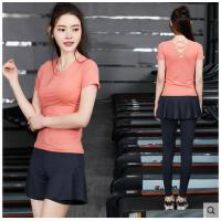 清新舞蹈服短袖健身服女韩国瑜伽运动跑步套装女健身房速干衣