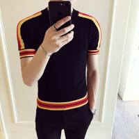 型男韩版新款男士撞色针织衫紧身弹力短袖线衣网红修身硬汉半袖衫