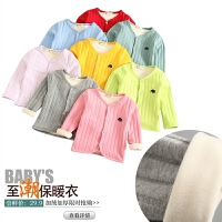 女童加绒加厚外套秋装保暖上衣儿童长袖圆领绒衣棉衣冬款上衣开衫