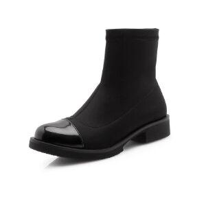 ELEISE美国艾蕾莎新品秋冬133-621韩版弹力布+漆皮平跟女士切尔西靴短靴