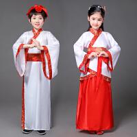 儿童古装汉服男女童古筝仙女裙民族服装国学服三字经弟子规演出服